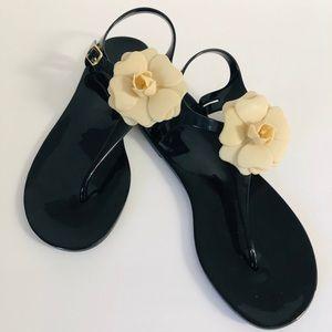 BCBG Black Sandals with Cream Flower Accent.